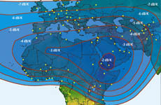 Arabsat 2B C-band Uplink G/T map