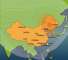 ChinaStar-1 Ku-band coverage and EIRP map