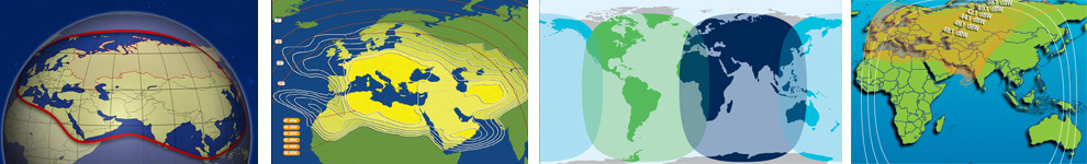 VSAT coverage maps of Europe / Central Asia region
